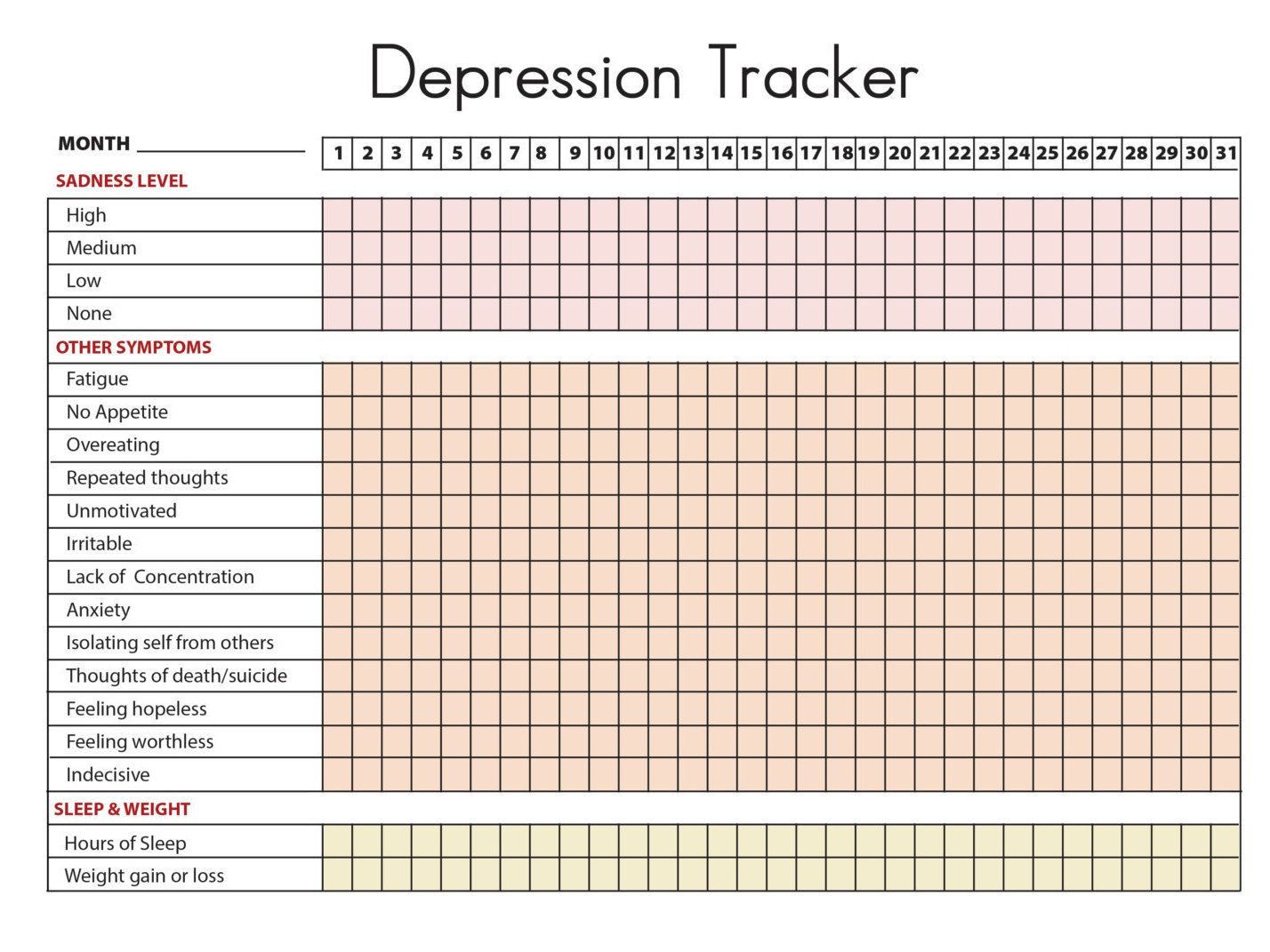 Depression Symptoms Tracker Amp Sleep And Weight By