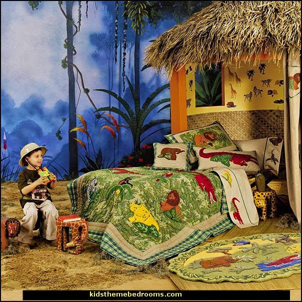 Jungle Theme Bedrooms Safari Themed Wild Animals Bedroom Ideas Tropical Jeep Beds Animal