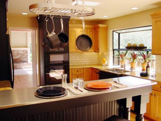 Kitchen Remodel Yellow Wall Paint Color With Glossy Wooden Cabinet Also Black Modern Referigerator Combined