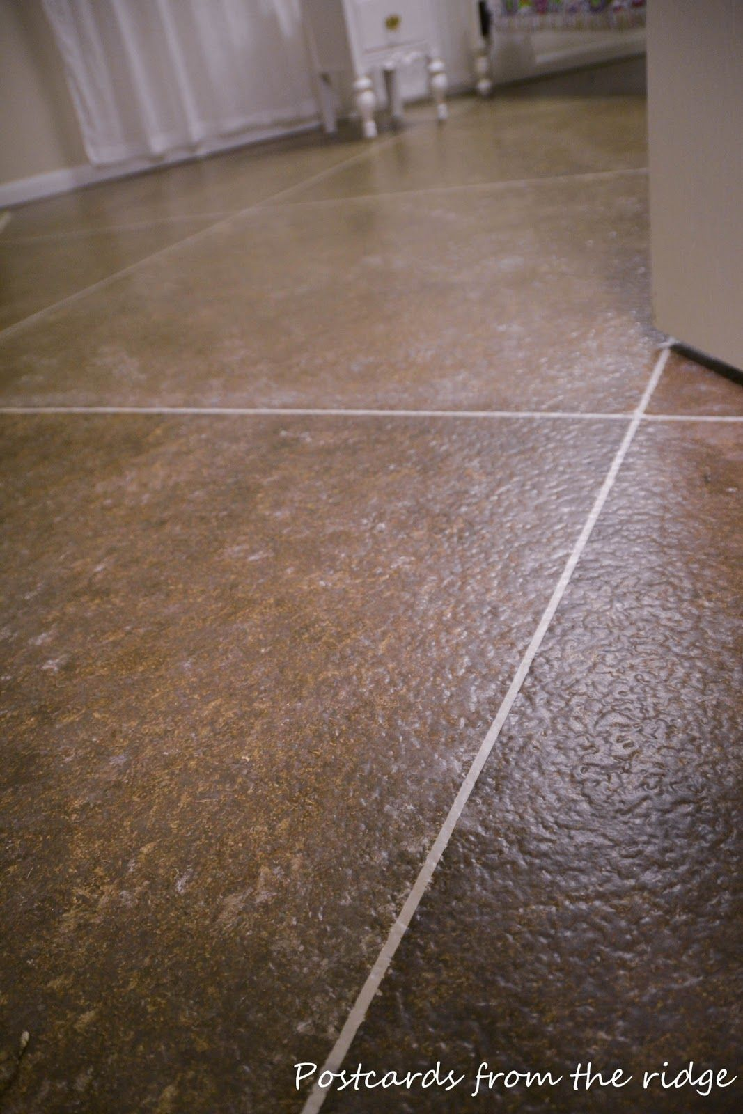 Postcards From The Ridge DIY Faux Painted Tile Floor Doesnt That Look Great Find Out How To