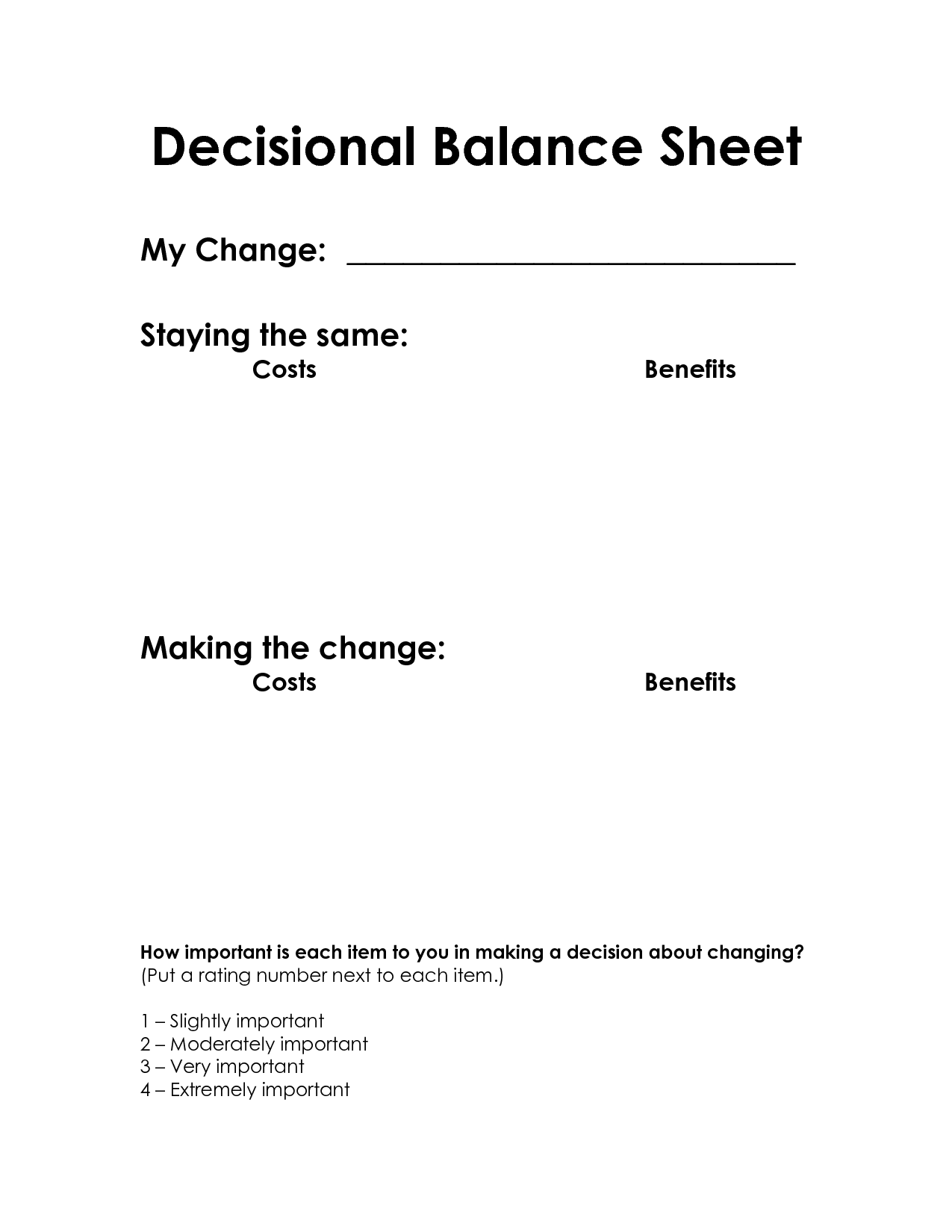 Decisional Balance Sheet Motivational Interviewing