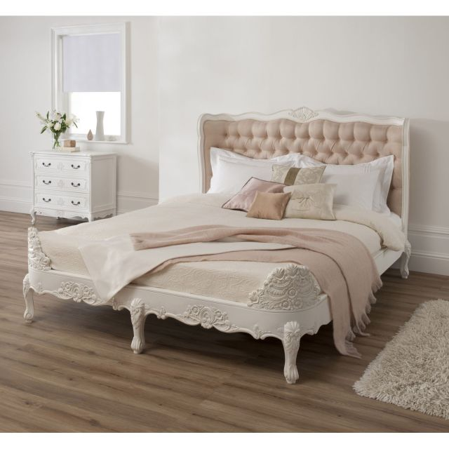 Frilly bed Antique French Upholstered White King Bed With