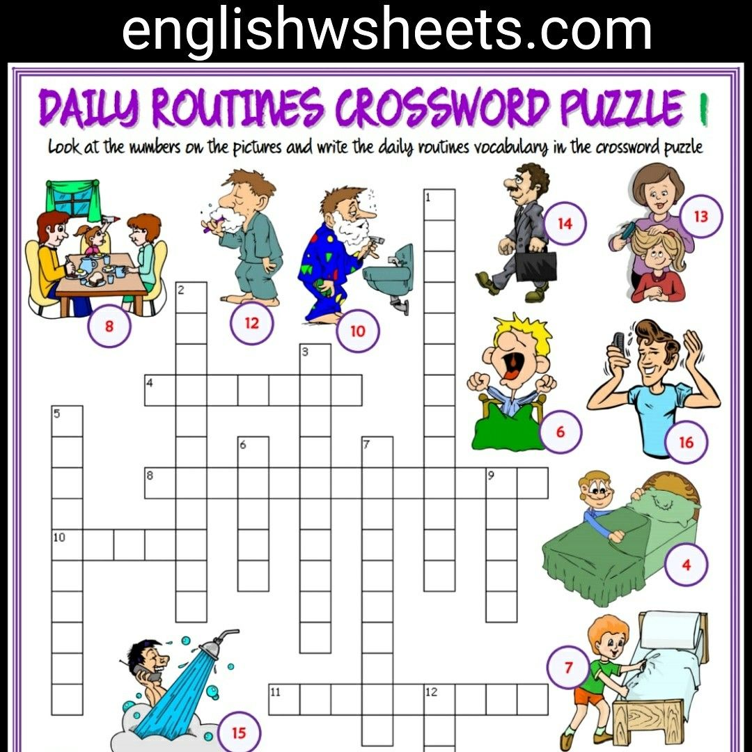 Daily Routines Esl Printable Crossword Puzzle Worksheets