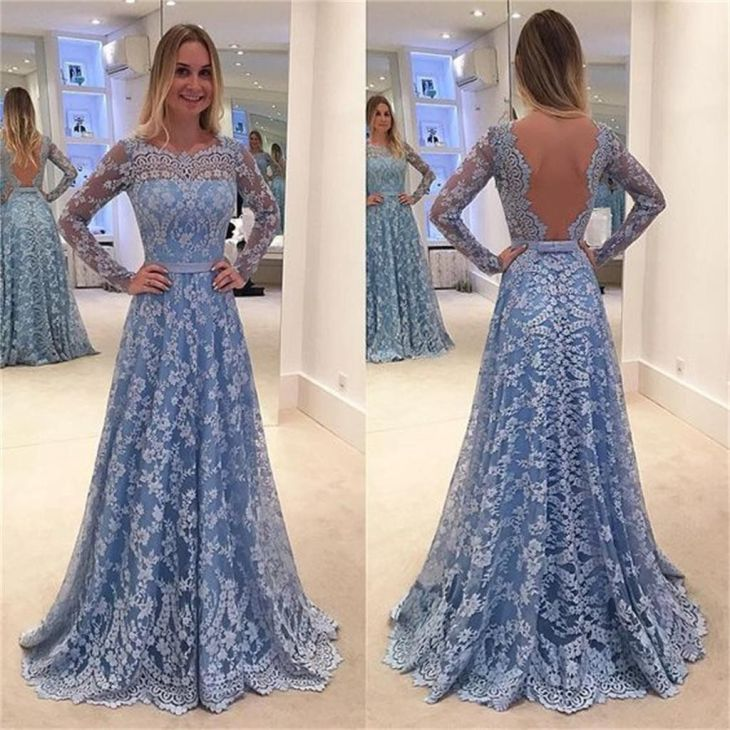 Blue Lace Prom DressesLong Sleeves Prom dresses online Blue lace