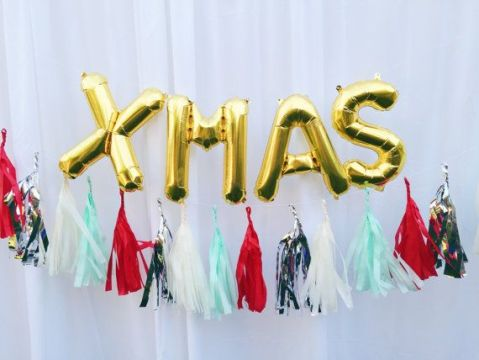 XMAS letter balloons   gold or silver foil mylar letters   with Full     XMAS letter balloons   gold or silver foil mylar letters   with Full Tassel  Garland