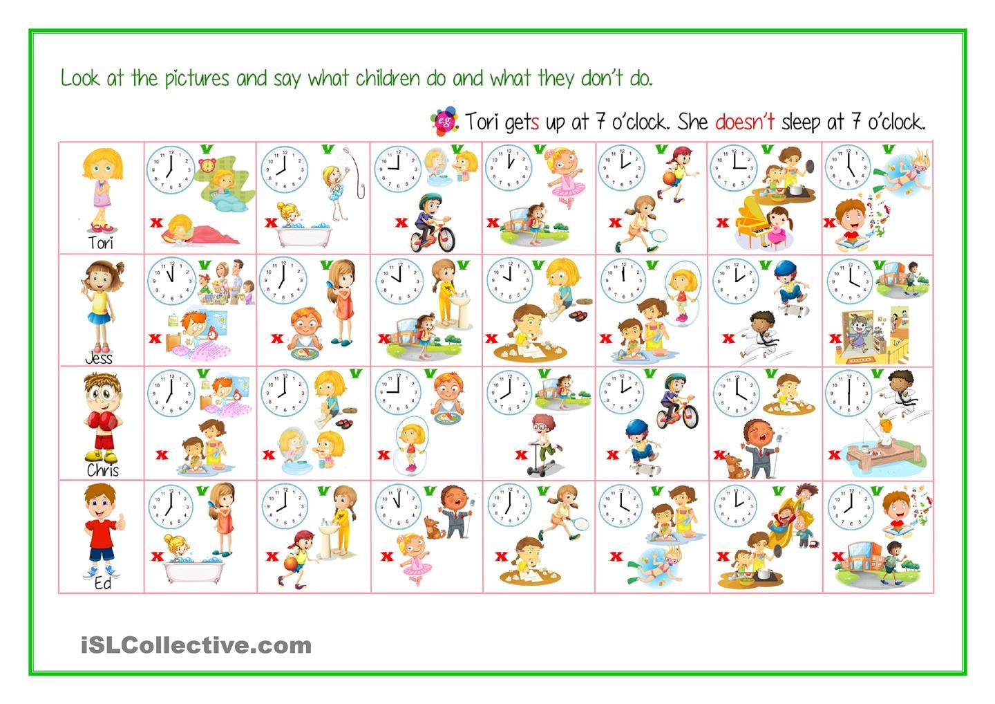 Daily Routine Free Time Activities Telling Time