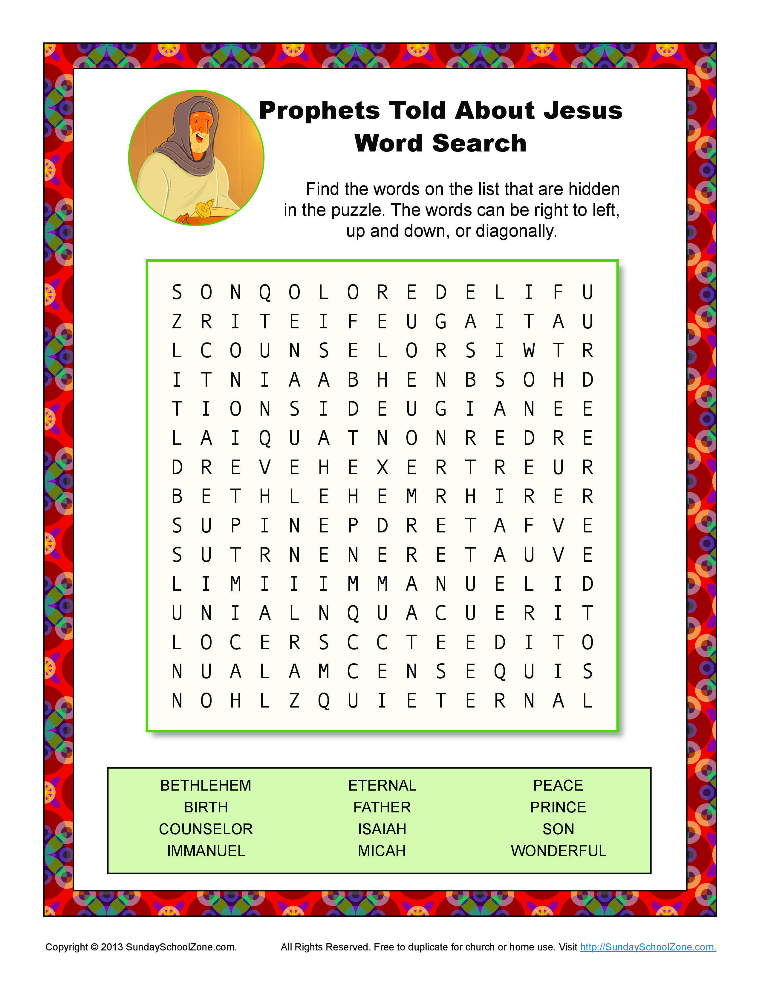 Prophets Told About Jesus Word Search