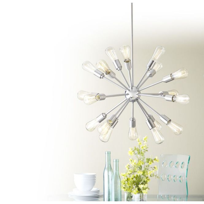 Style Selections 18 Light Brushed Nickel Chandelier At Lowes 198