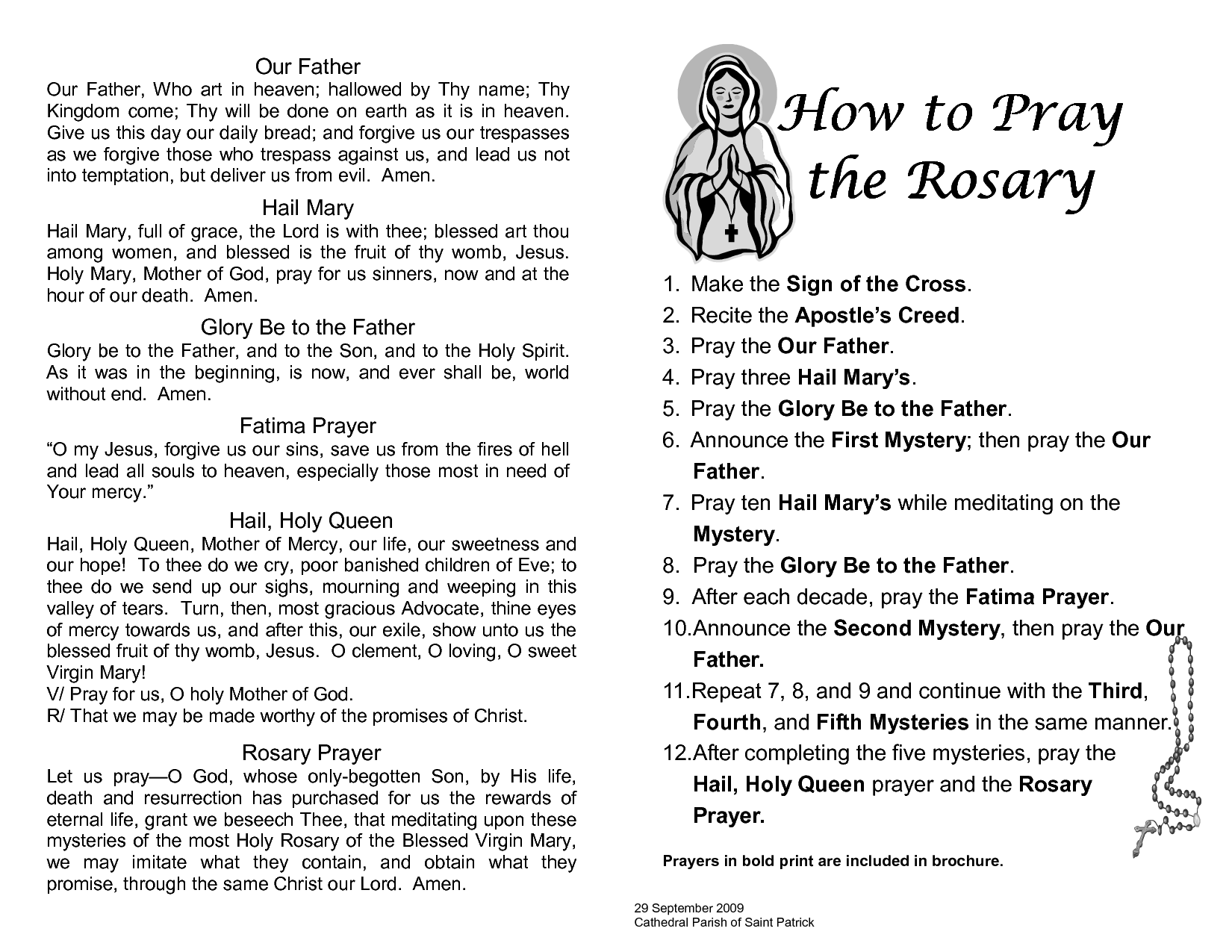 Printable Rosary Prayer Guide