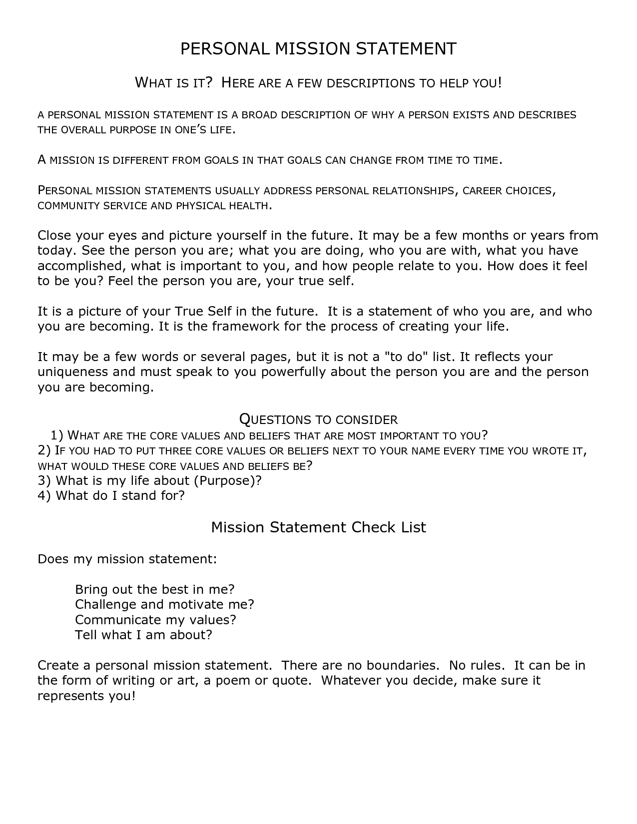 Personal Mission Statement Worksheet Stephen Covey