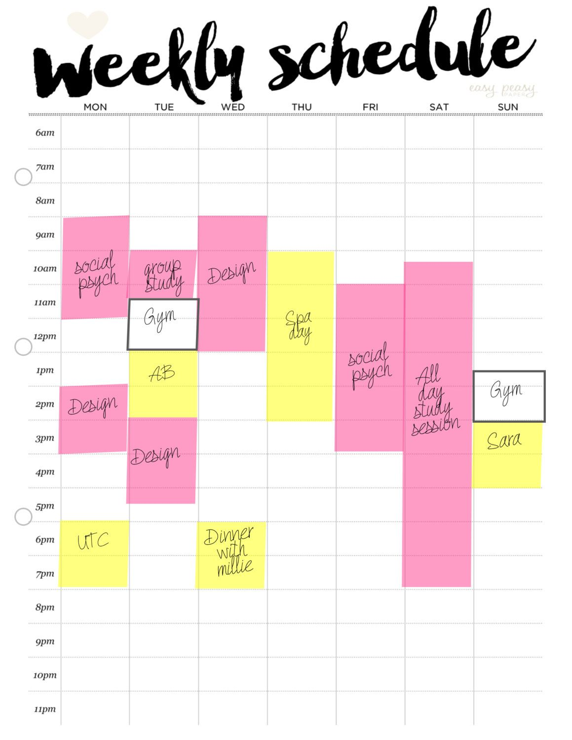 Weekly Schedule Printable Weekly Timetable By