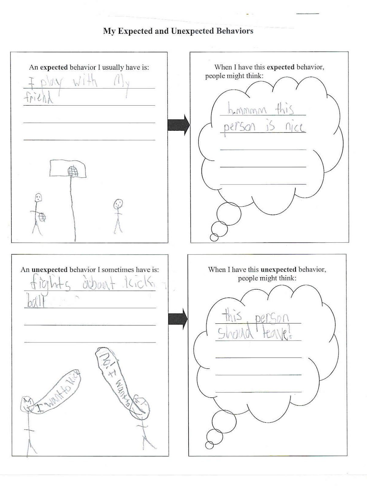 Expected Unexpected Behavior Worksheet These Words Are