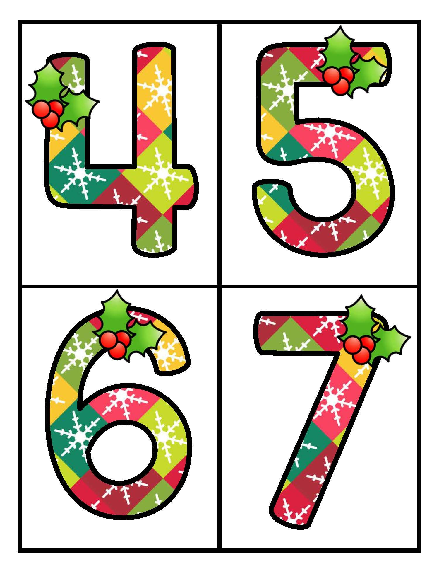 Free Set Of Large Numbers 0 20 With A Christmas