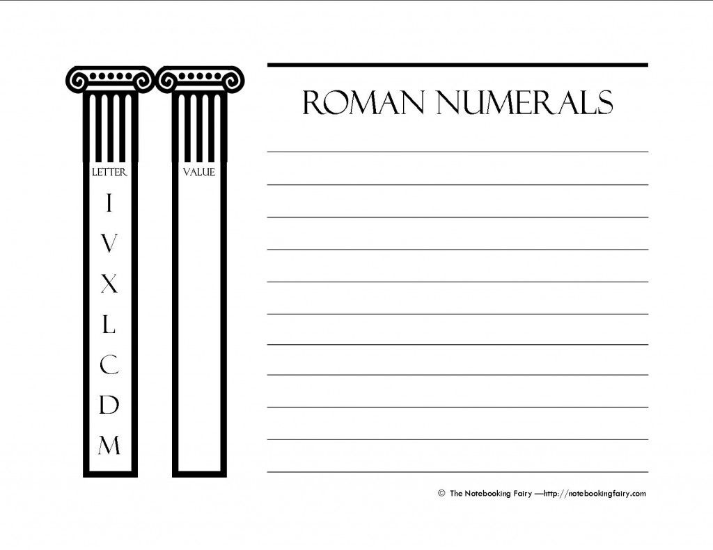 Free Printable Notebooking Pages For Roman Numerals