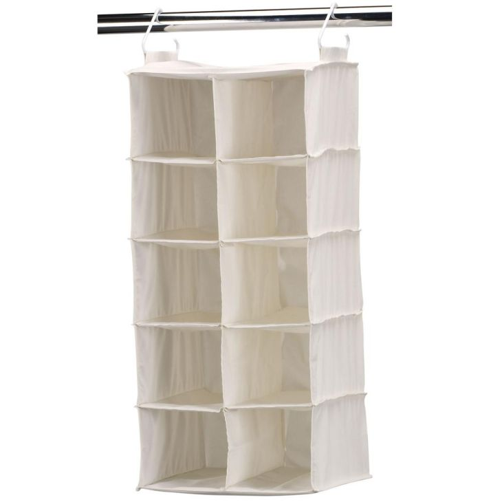 Pocket SidebySide Natural Canvas Hanging Shoe Organizer White