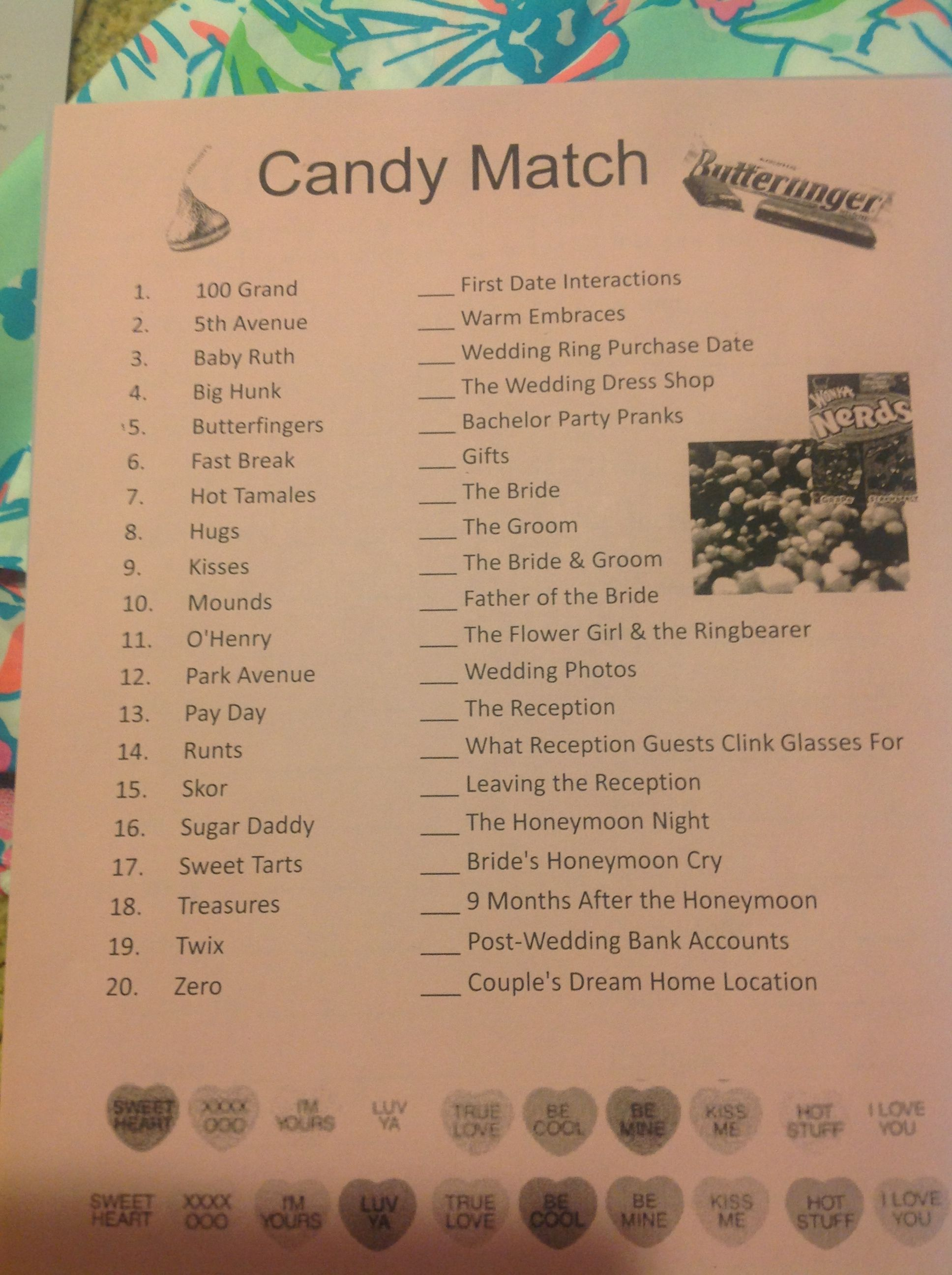 Candy Match Bridal Shower Game