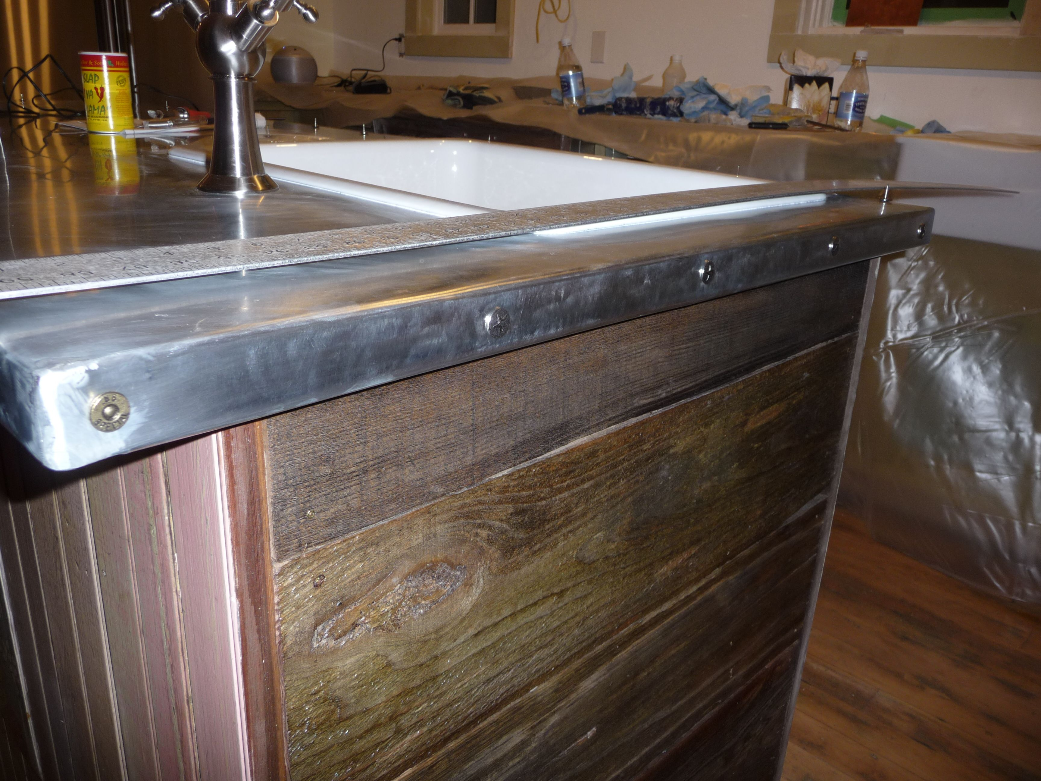zinc counter edge with decorative nails she says to use a punch to pierce the zinc then the on kitchen zinc id=85767