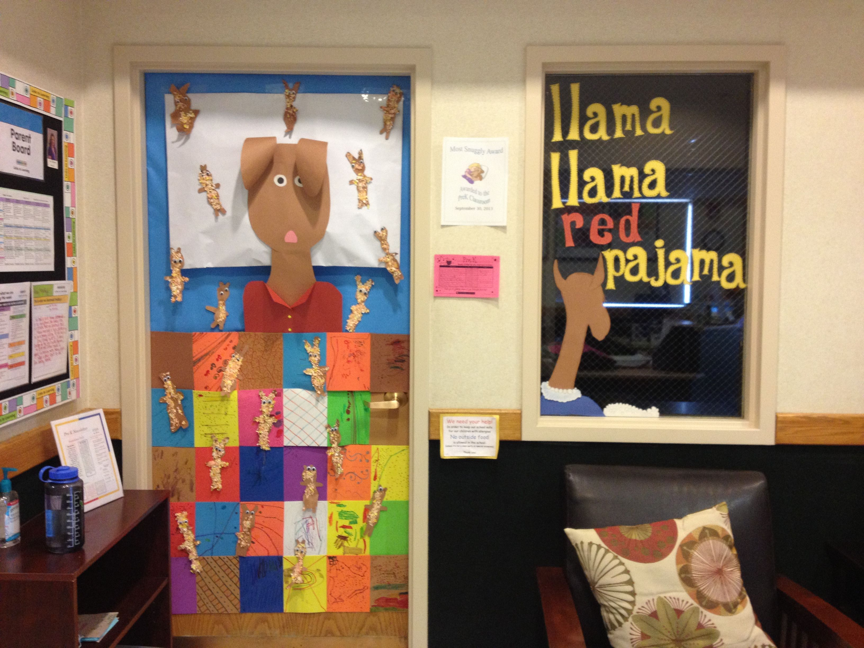 Prek Door Decoration Quilt And Fuzzy Llamas Made By
