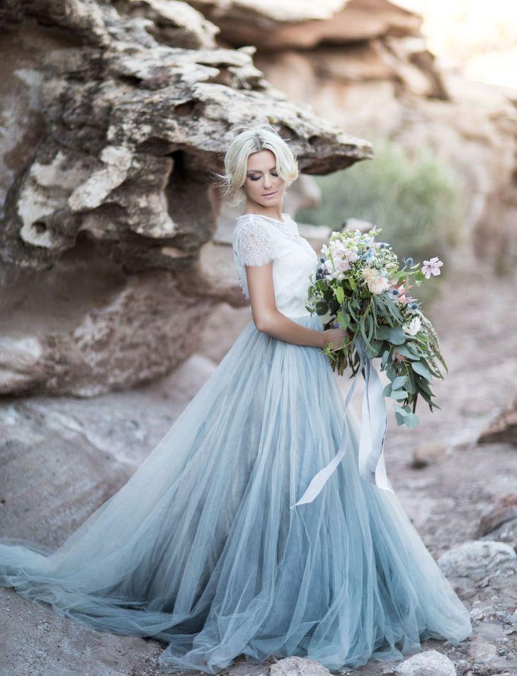 Desert Wedding Inspiration at Zion National Park Blue tulle skirt
