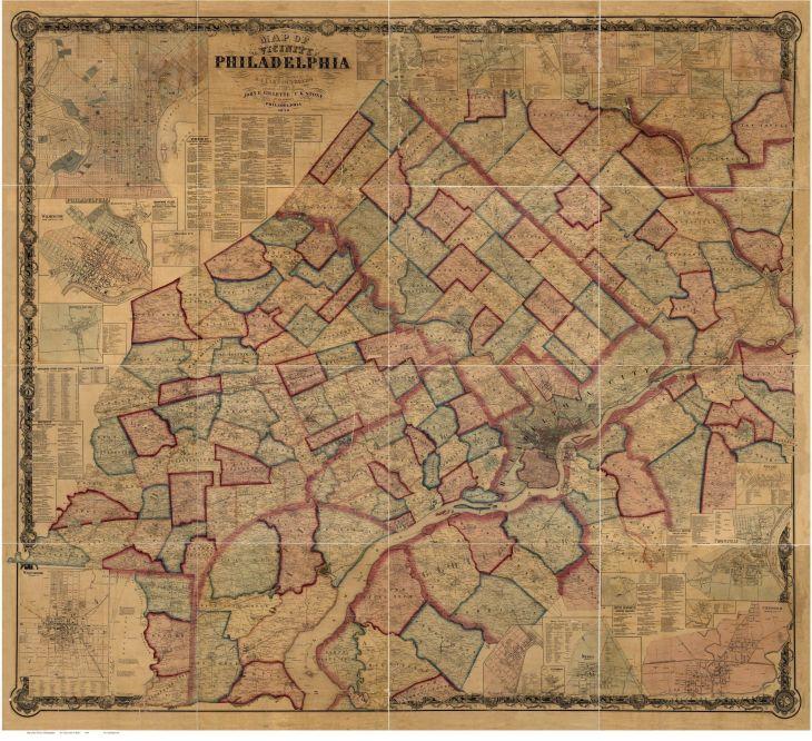 Philadelphia Vicinity Pennsylvania PA County Wall Map with
