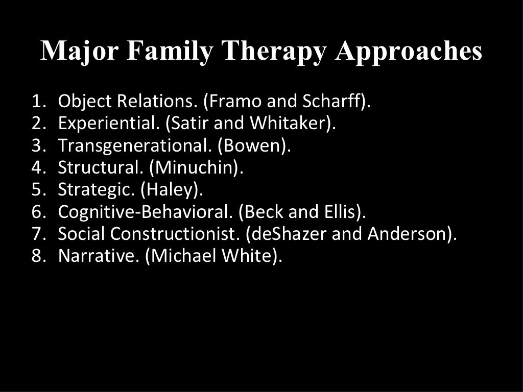 Major Family Therapy Approaches