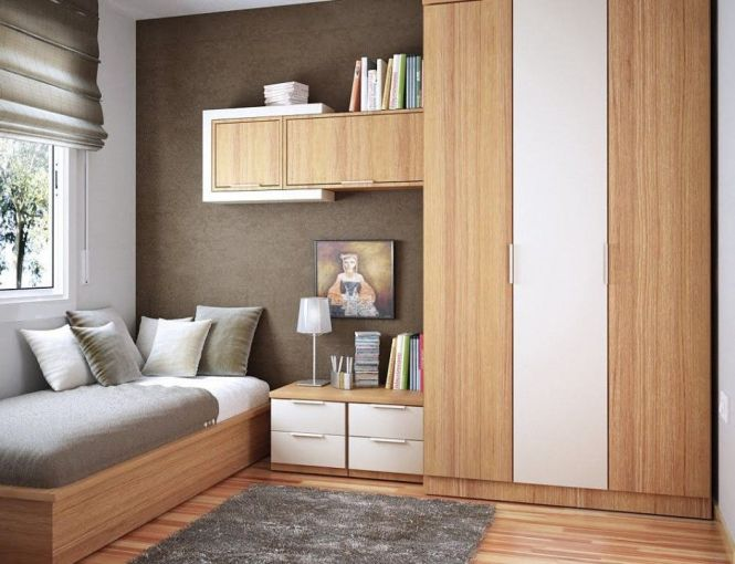 Bedroom E Saving Ideas For Small Bedrooms Equipped With Wardrobe And Wall Shelves Therewith Grey Rugs
