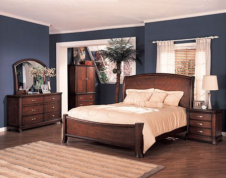 bedrooms with cherry furniture | soho panel bedroom set cherry