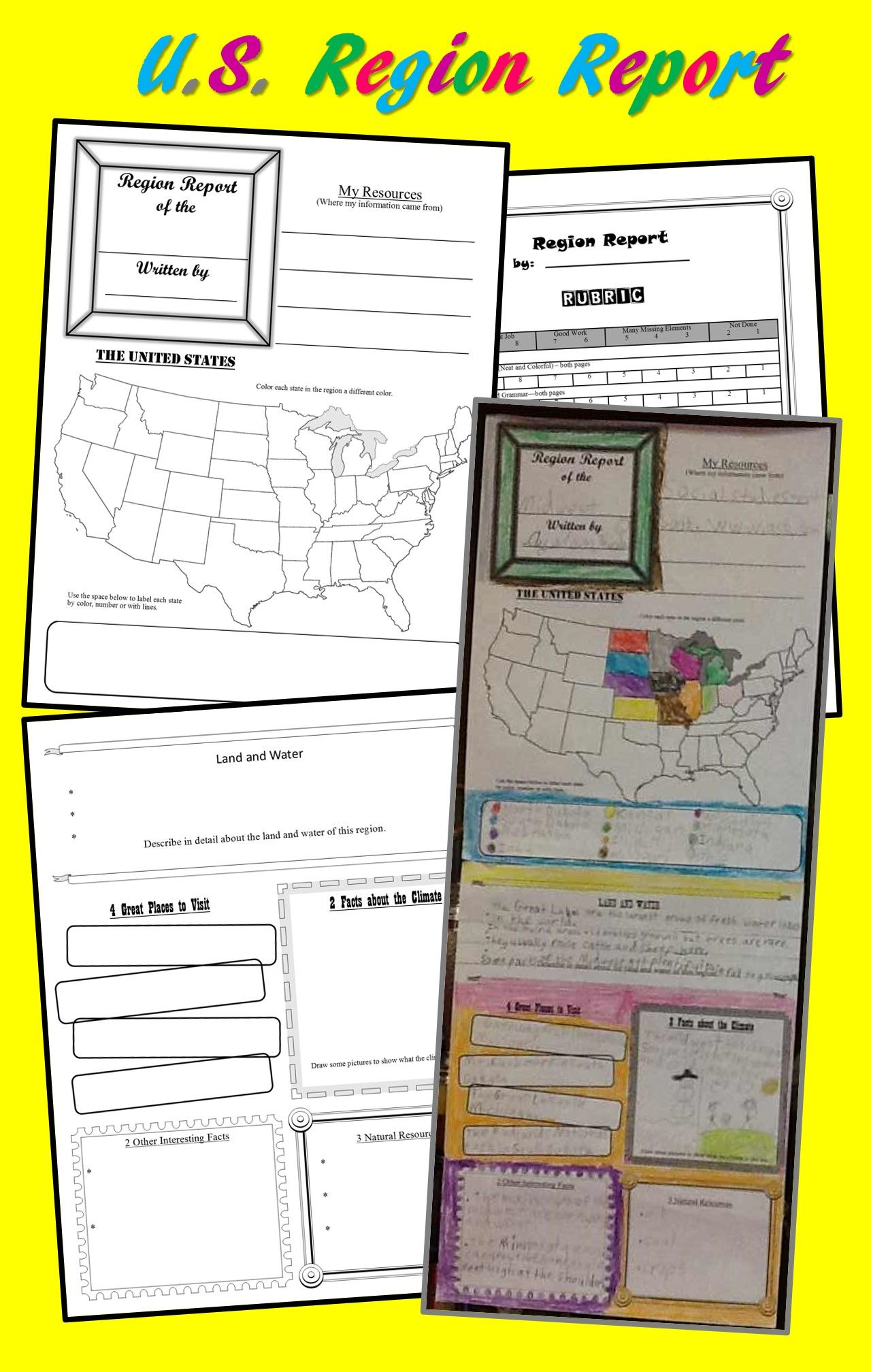 U S Region Report Poster Template For Intermediate Grades