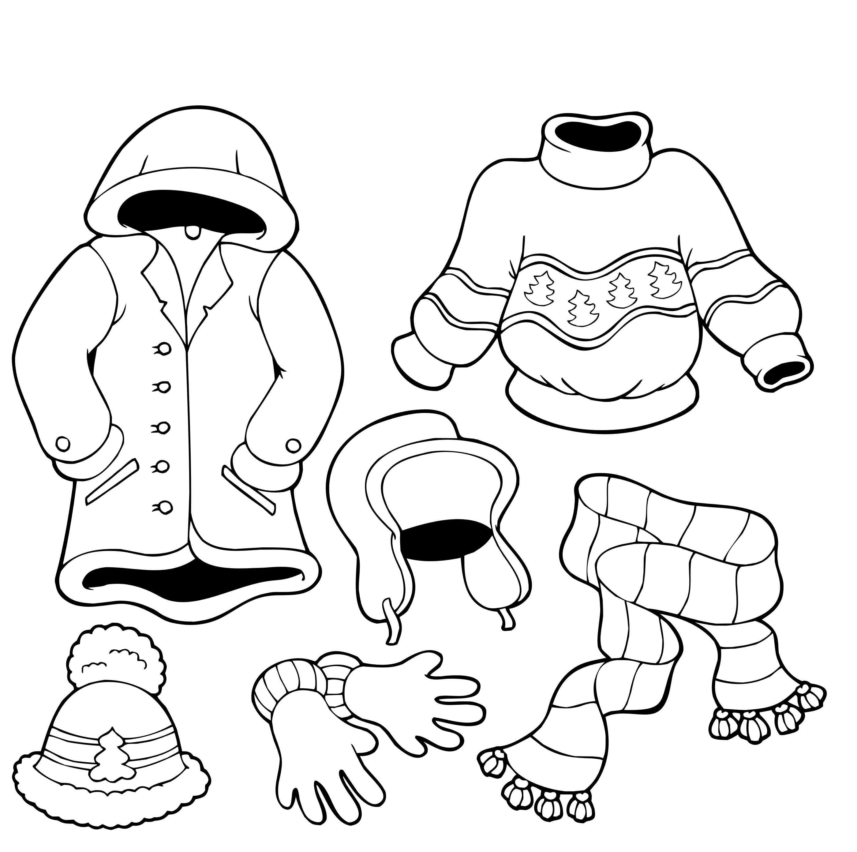 Clothes For The Cold Winter Coloring Pages