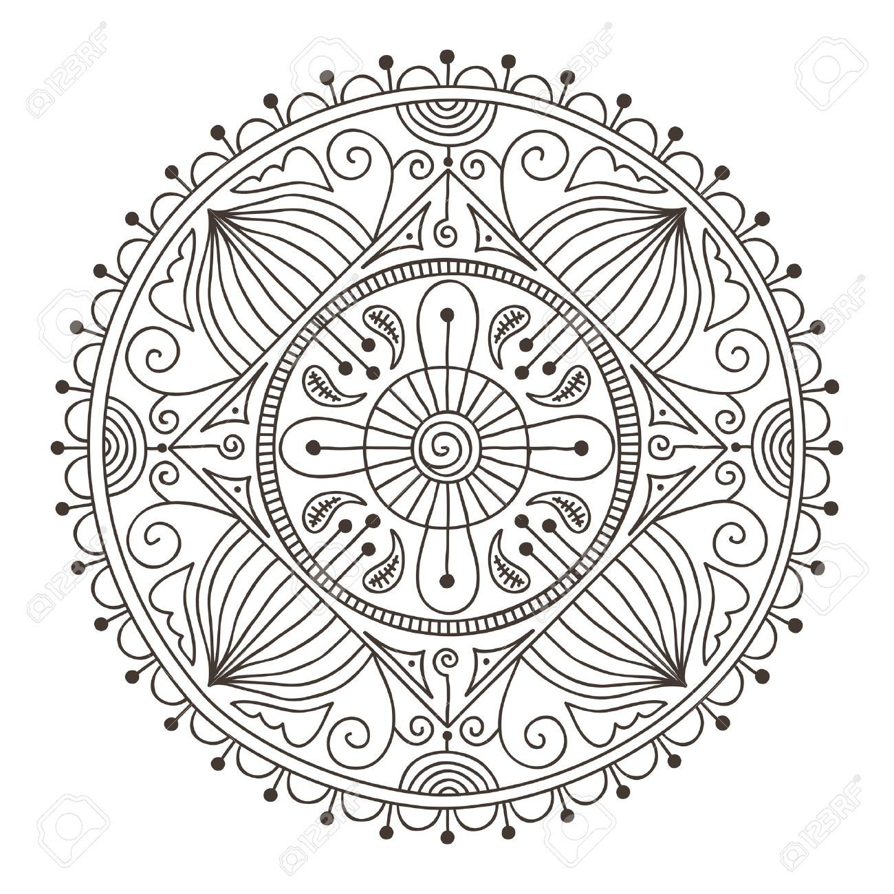 Beautiful Hand Drawn Doodle Mandala Royalty Free Cliparts