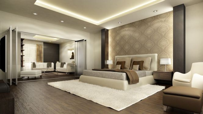 Room Luxury Modern Bedroom Interior Design Fur Rug Wooden Floor Gl Table Duvet Cover Wall Shelf Pillow Lamp Curtain Cushion Door