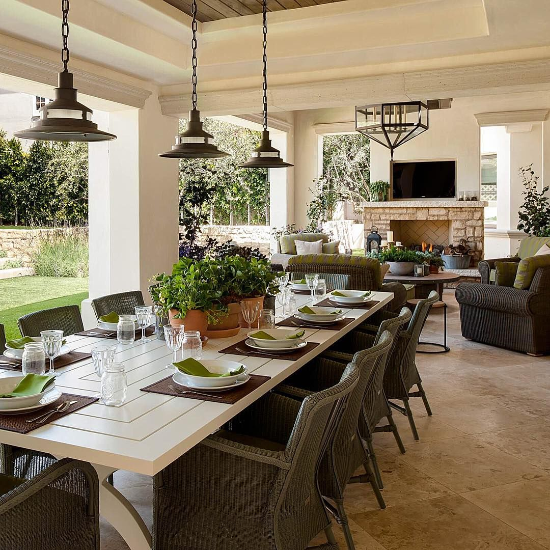 Beautiful outdoor covered porch with large table for ... on Covered Outdoor Living Area id=76695
