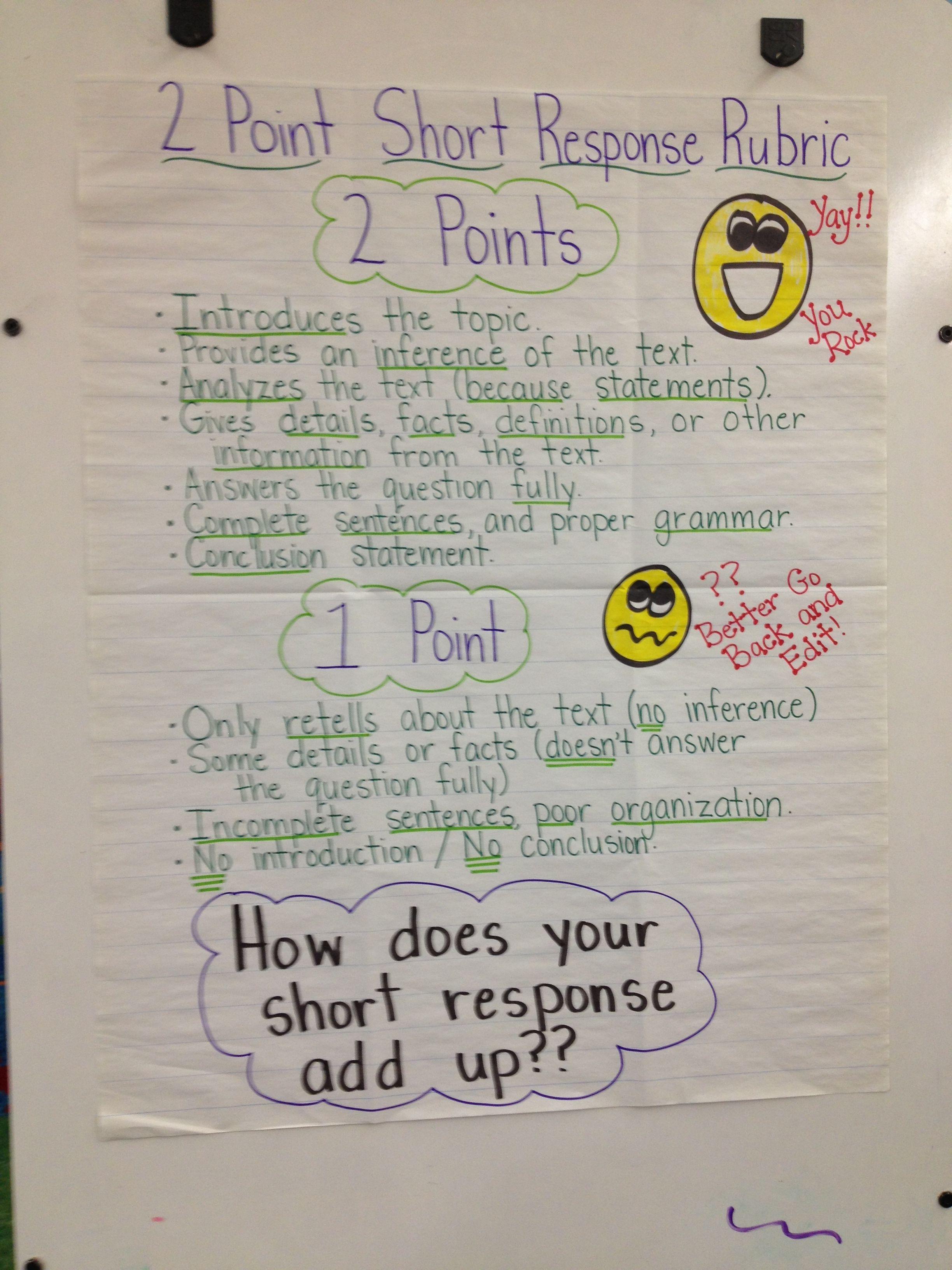 Nys Short Response 2 Point Rubric