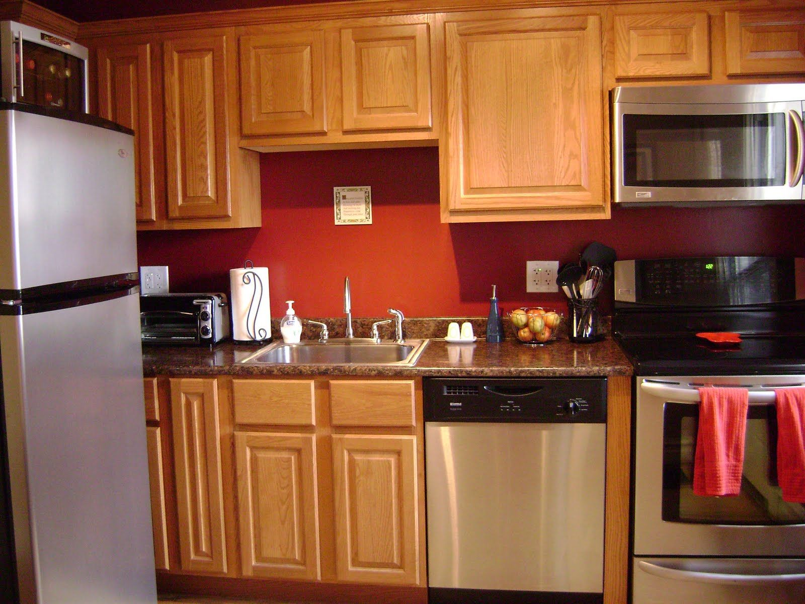kitchen wall color ideas with oak cabinets design idea kitchen pinterest on kitchen cabinet color ideas id=39615