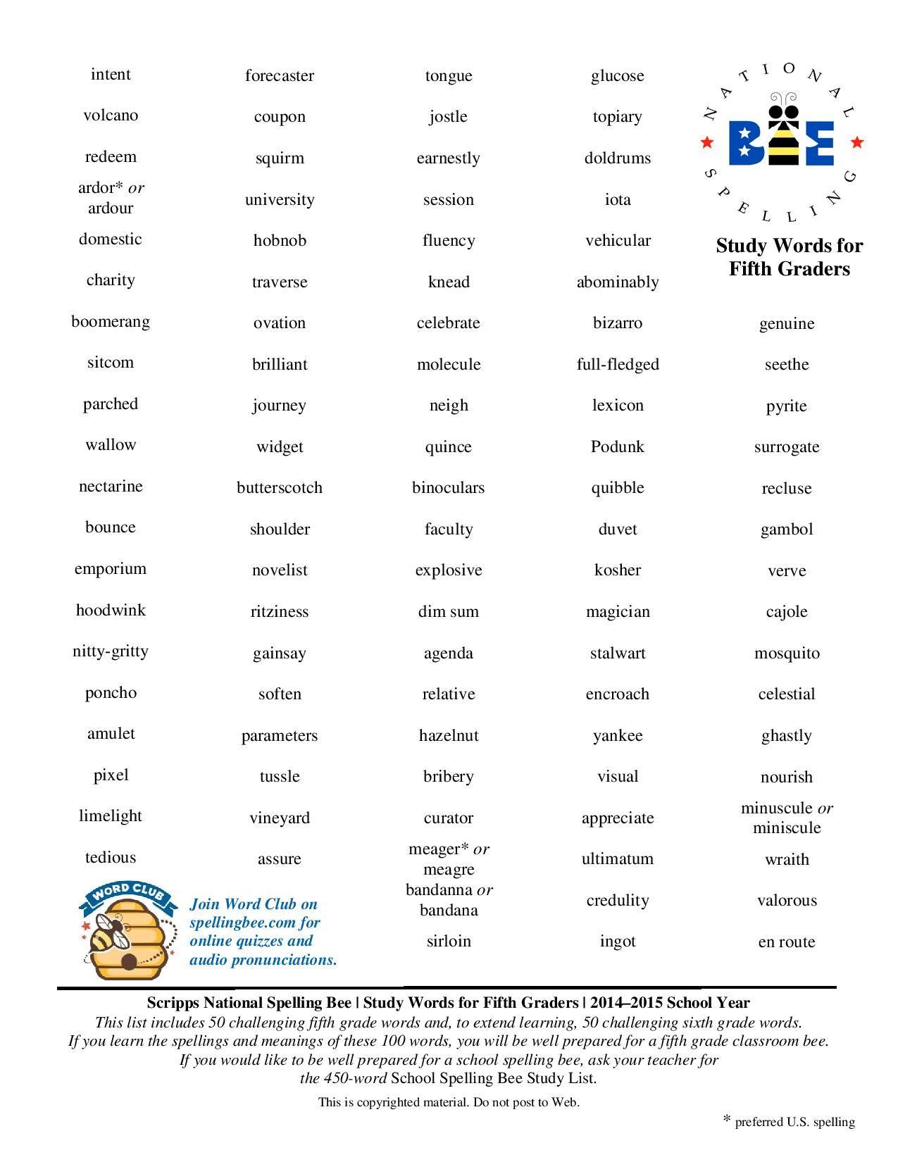 5th Grade Spelling Bee Words
