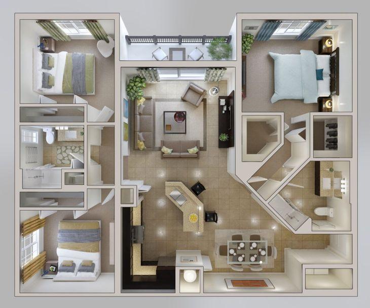 Three ucud Bedroom ApartmentHouse Plans  Breakfast bars Bedroom