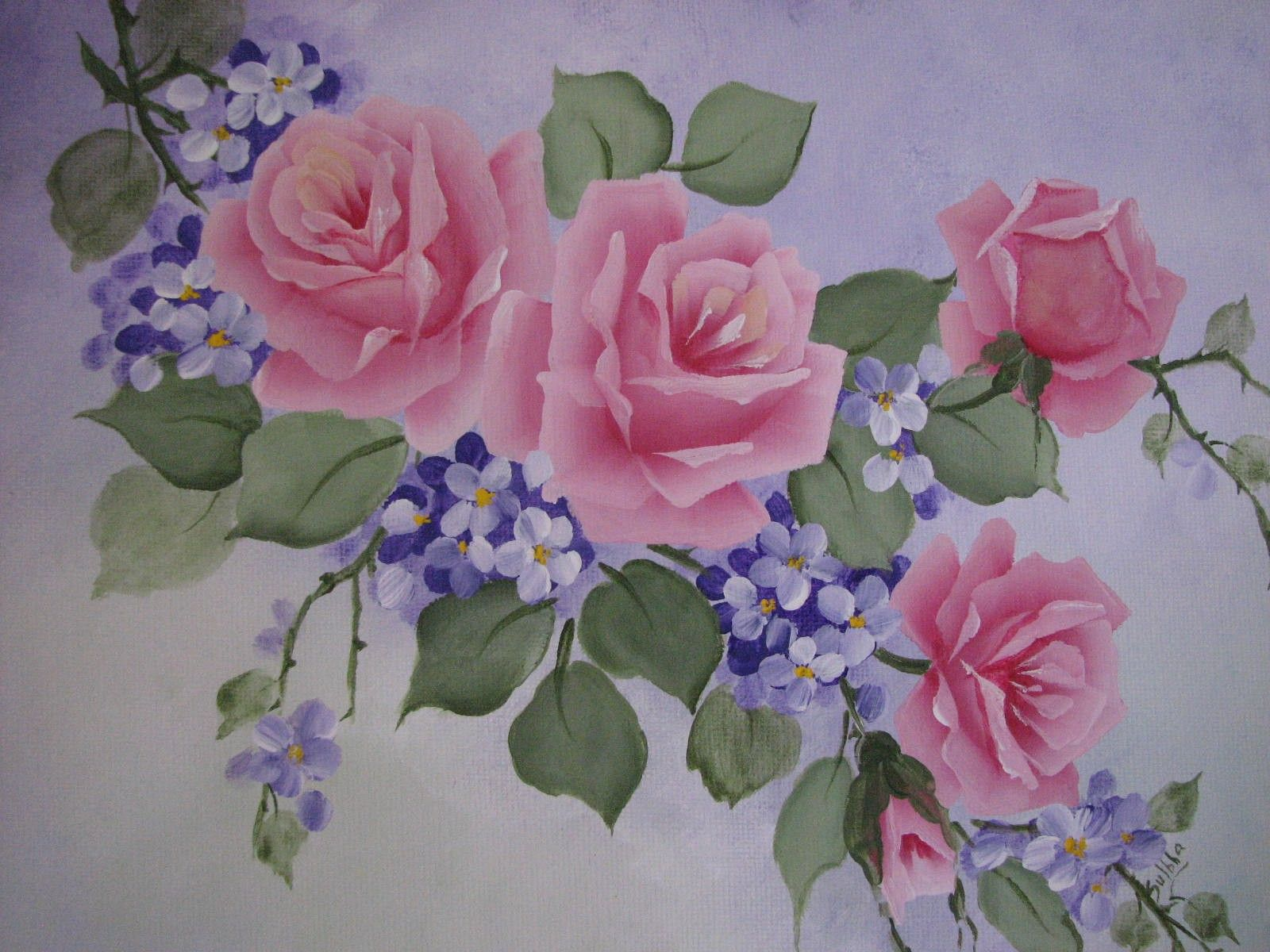 Hand Painted Pink Roses Purple Flowers Canvas Acrylic