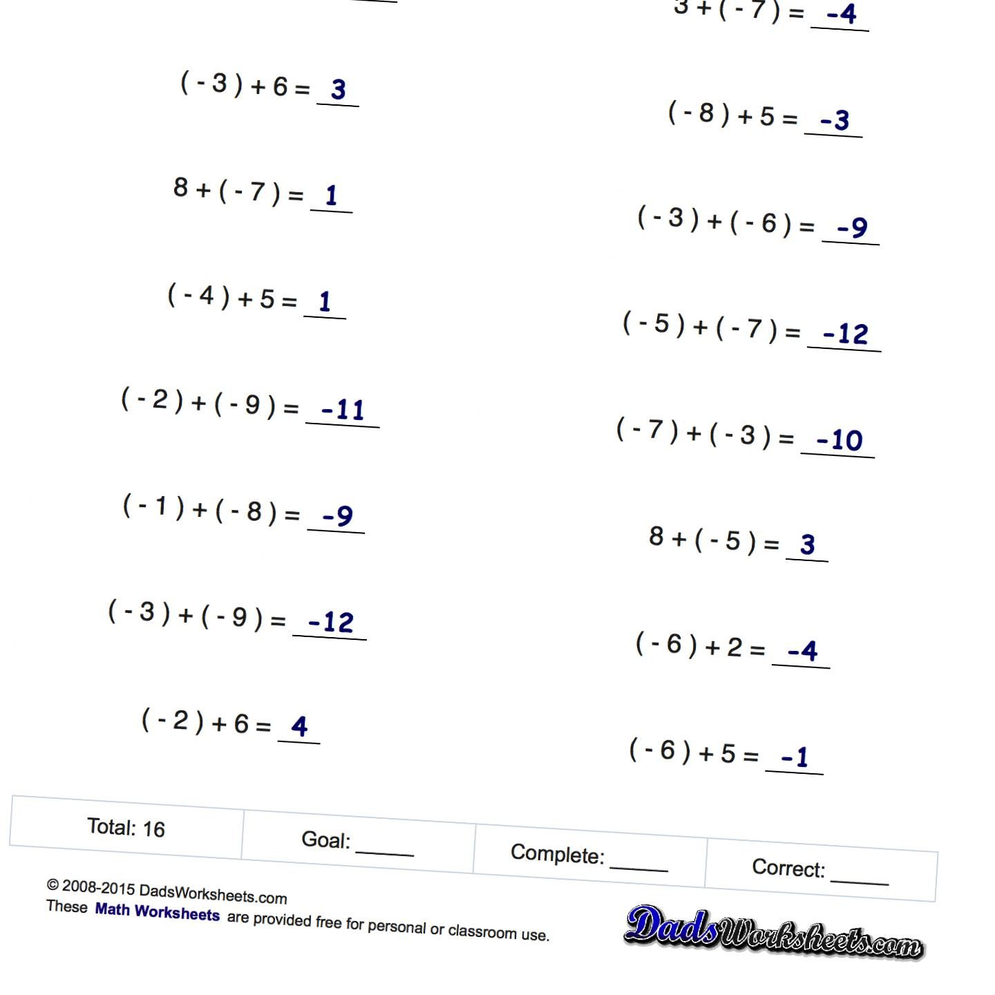 Worksheet Adding And Subtracting Positive And Negative Numbers Worksheets Worksheet Fun