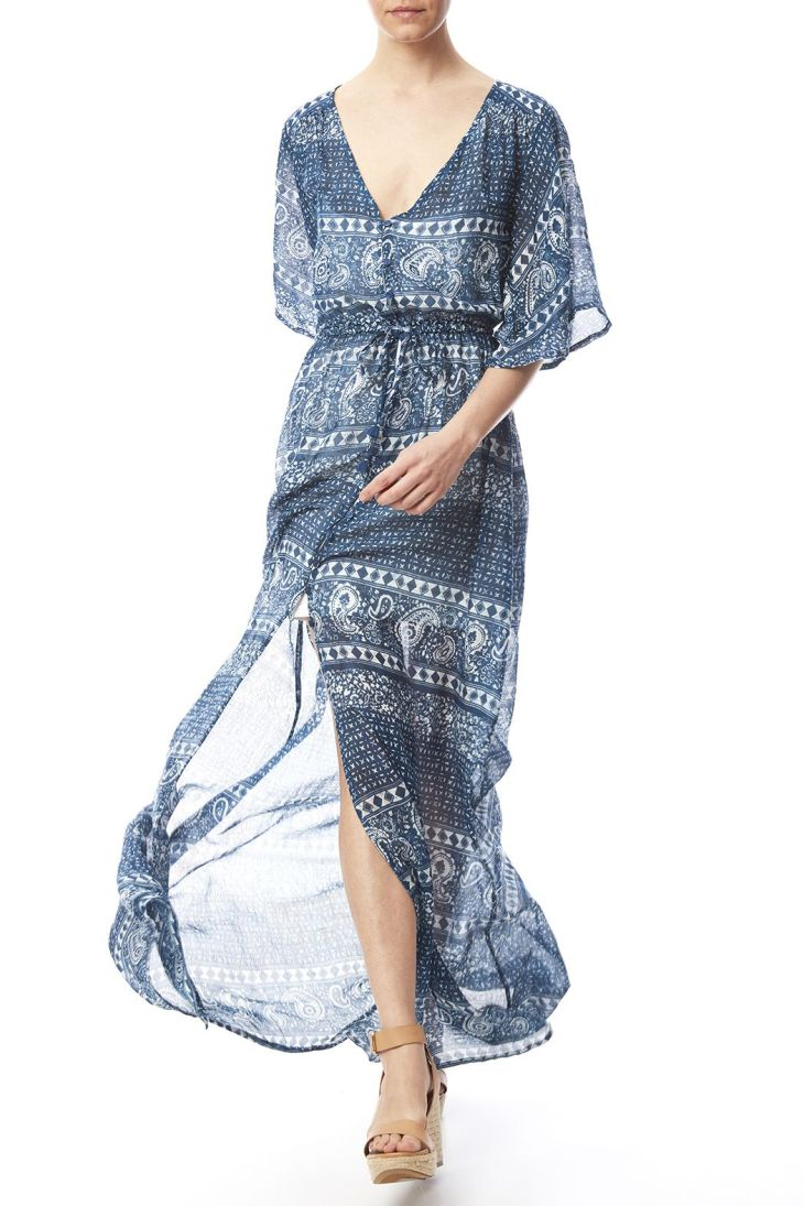 Sheer maxi dress with a button front closure drawstring waist and