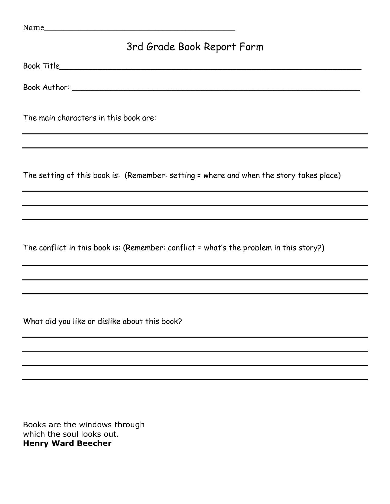 Book Report 3rd Grade Template