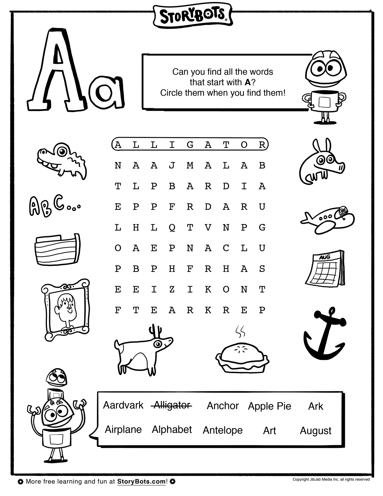 Letter A Word Find