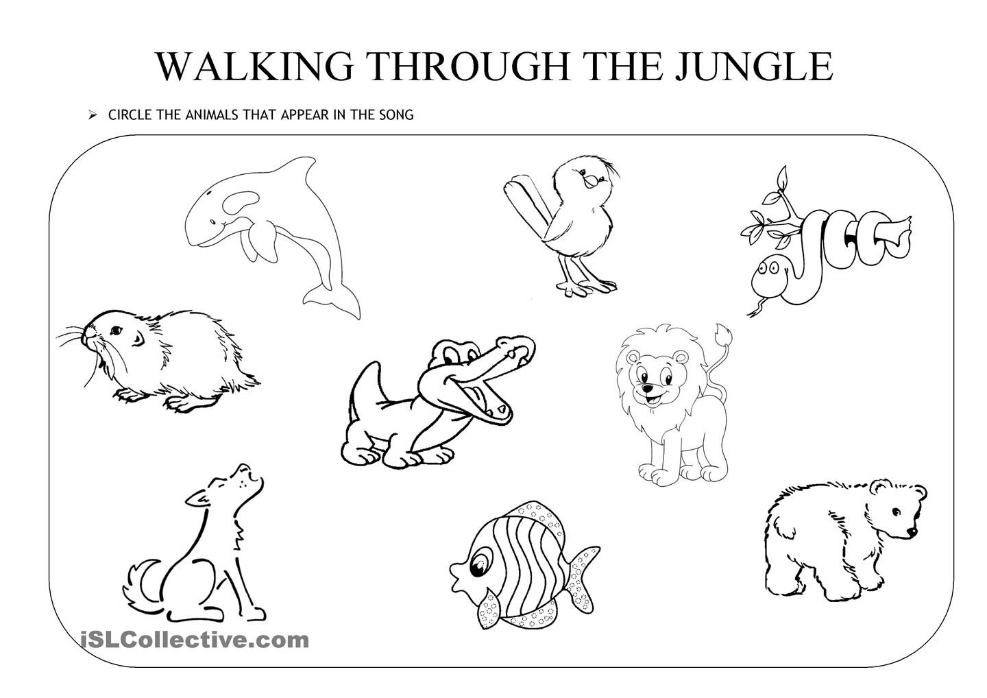 Walking Through The Jungle An Activity To Go With The Walking Through The Jungle Book Song By
