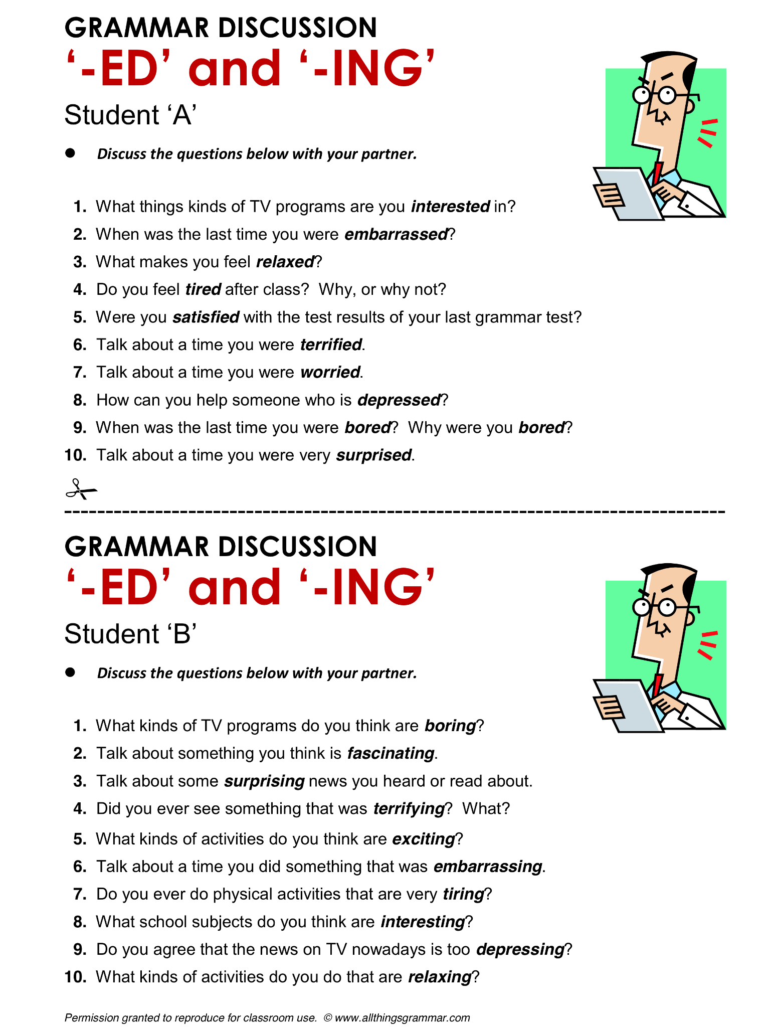 English Grammar Participle Adjectives Ed Vs Ing