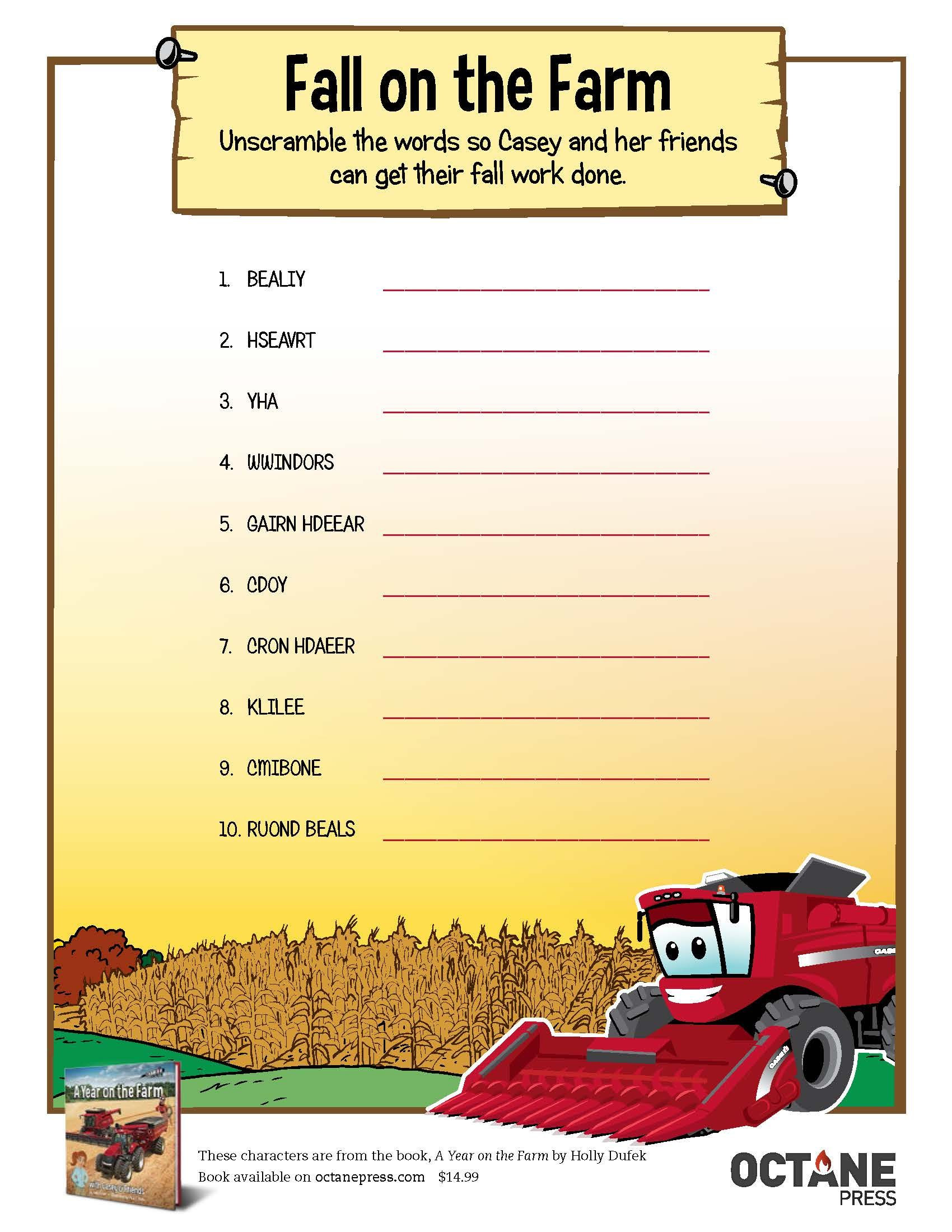 For Some Fall Fun Check Out This Printable Download Word Scramble From A Year On The Farm From