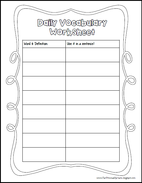 Our Precious Sprouts Homeschool Journal Daily Vocab