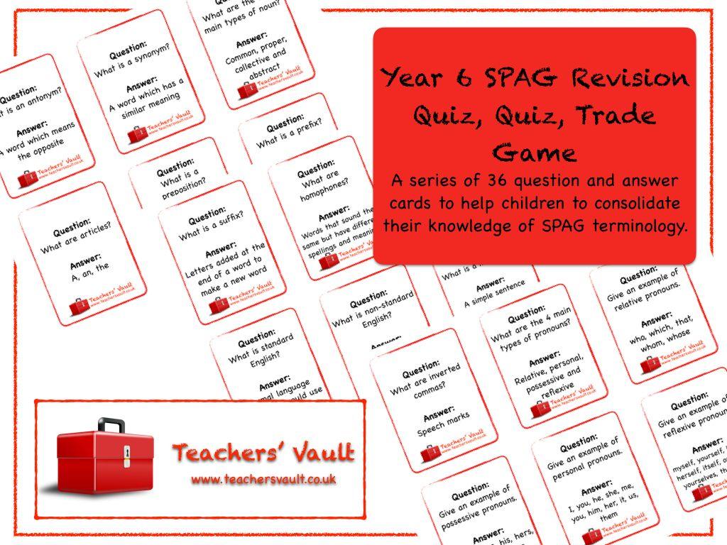 Y6 Spag Revision Quiz Quiz Trade Card Game