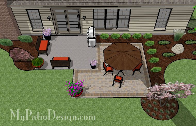 Add on to existing cement patio Square Paver Patio ... on Add On Patio Ideas  id=42728