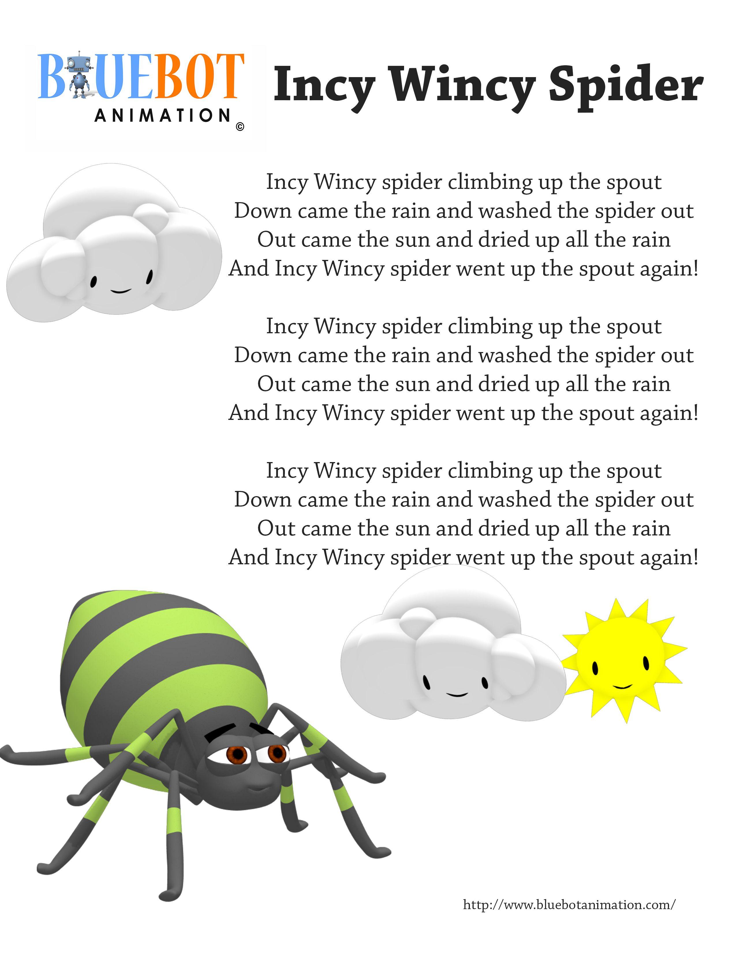 Incy Wincy Spider Itsy Bitsy Spider Nursery Rhyme Lyrics Free Printable Nursery Rhyme Lyrics
