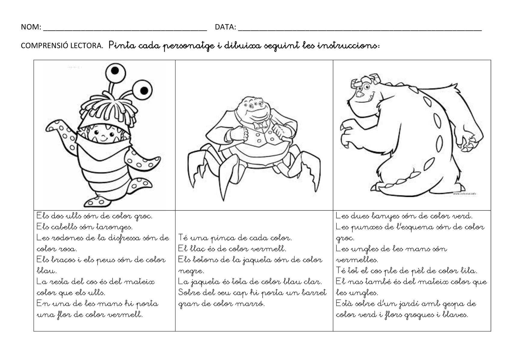 Pintar I Dibuixar Seguint Les Instruccions Potenciant La Comprensio Lectora Dos Tipus De Lletra