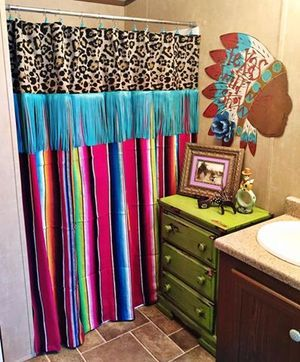 SERAPELEOPARDampFRINGE Shower Curtain Rustic Rose Boutique Tictail Cowgirl Twisted